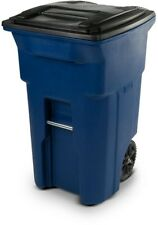 64 Gal Wheeled Blue Trash Can Heavy Duty Outdoor Garbage Bin Container Storage