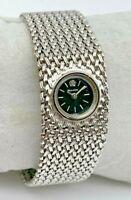 Vintage 1978 Ladies BULOVA Silver Tone Diamond Watch, Mesh Band (Clasp Broken)