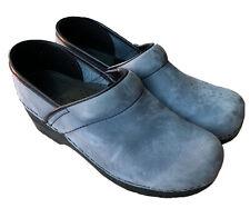 Dansko Blue Suede Leather Professional Clogs Women's Size 39 US 8.5-9