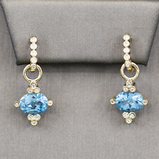 Diamond Hoop Dangle Earrings with Blue Topaz and Diamond Charms in 14k Gold
