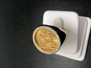 0.55 CARAT MENS DIAMOND SOVEREIGN RING YELLOW GOLD