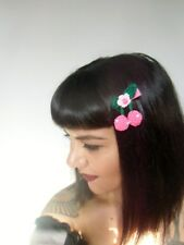 Pince clip cheveux cerises roses fuchsia cherries crochet original pin-up rétro