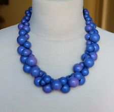 Unusual Plastic Blue & Purple Bead Statement Necklace