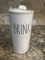 Rae Dunn DRINK Tall Ceramic Coffee Travel Mug Tumbler with Lid Brand New w/tag