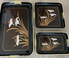 Set 3 Vintage Japanese Shiny Black Laquer Ware Nesting Trays Gold Red Floral