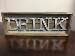 Mud Pie DRINK Tin Letters On Wood Wall Or Free Standing Kitchen Dining Plaque