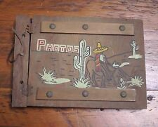 Vtg 50s Mexican Cactus Donkey Sombrero Wood Cover Photo Album Scrapbook Blank