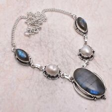 Labradorite Pearl Ethnic Handmade Necklace Jewelry 32 Gms AN 60224