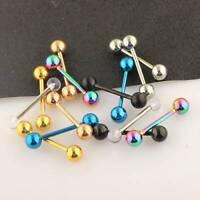 14pcs Flexible Barbell Stud Tongue Ring Ball Bars Earrings Body Piercing 14G