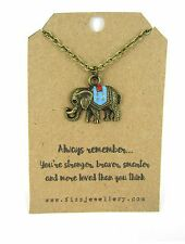Always Remember Enamel Bronze Plated Elephant Necklace Quote Gift Message Card
