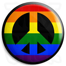 Peace Symbol - LGBT Rainbow - 25mm Button Badge - CND Logo - Hippie Love Sign