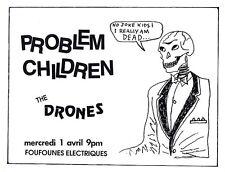 Vintage 1980's Punk Flyer Problem Children The Drones – Montreal
