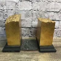 Faux Gold Bricks Bookends Home Decor Bookcase Unique Vintage Decoration