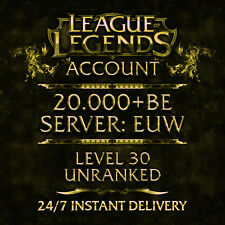 League of Legends LOL account | Euw | level 30 | 20.000+ be | 20k+ | unranked