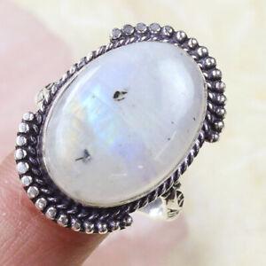 Rainbow Moonstone 925 Silver Plated Handmade Gemstone Ring of 8.25 Ethnic Gift
