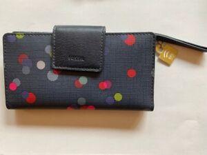 Fossil Emma Navy/Multi Color RFID Tab Zip Clutch Wallet