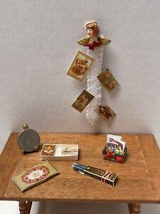 VTG Artisan ORR Card Holder Christmas Stationary Candle Dollhouse Miniature 1:12