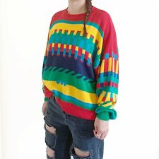 Vintage Size Medium Unisex Slouchy Bright Colorful Arrow Crew Neck Knit Sweater