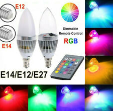 E12 E14 E27 3W RGB LED Color Changing Candle Light Lamp Bulb +IR Remote Control