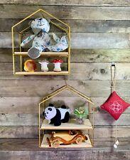 2pcs Wall Shelves Storage Cube Metal Frame Wrought Iron House Shape Home Décor