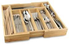 Wooden Bamboo Cutlery Drawer Tray Kitchen Adjustable Storage Organizer Holder