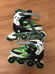 80 mm FOCUS ABEC-7 Adjustable rollerblades Size 7-10 Green, Black & White