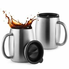 Stainless Steel Coffee Mugs with Spill Resistant Lids, 14 Oz Double Walled