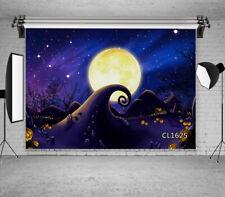 Halloween Night Full Moon Horror Pumpkin Backdrop 7x5ft Vinyl Photo Background