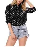 Keynat, Women's black with white star Button Down Shirt
