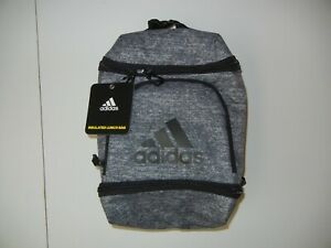 ADIDAS Gray/Black INSULATED LUNCH BAG Golf Track Food Snack Storage Gym Cooler