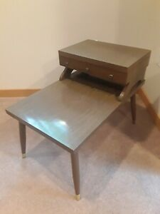 ~Rare~ Vintage Mid Century Modern 2 Tier Side End Step Table With Drawer