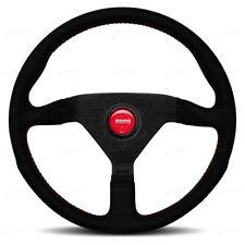 MOMO Steering Wheel Montecarlo ALCANTARA SUEDE Red stitch 350mm 100% GENUINE