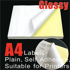 20 x A4 Glossy Self Adhesive Sticker Paper Shipping Label Laser Print Gloss
