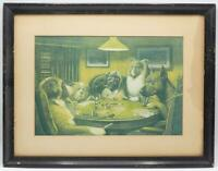 Vintage M Coolidge A Bold Bluff Dogs Playing Poker Art Framed Print