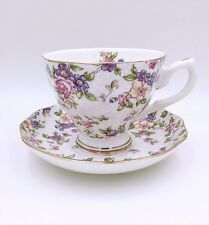 English Tea Set/ Tea Cup And Saucer/ Purple Flower Pattern