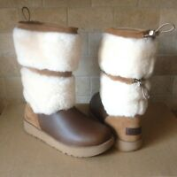UGG REYKIR WATERPROOF CHESTNUT LEATHER FUR WINTER TALL BOOTS SIZE US 9 WOMENS