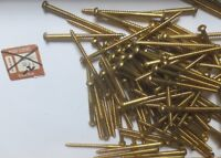 "100 #10 (3"") Round Head Slotted Drive Wood Screws Solid Brass STARLINE FASTENERS"
