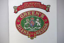 Greens 'Silens Messor' Antique / Vintage Mower Repro Grass Box Decals