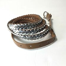 Women's Braided 100% PU Belt Size 24W Color Silver/Tan