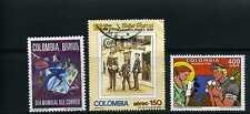 CARTEROS ,WORLD POST DAY- COLOMBIA 3 stamps