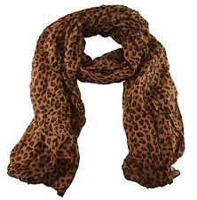 SW Leopard Animal Print Scarf Brown