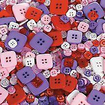 """50 Square Shaped Buttons Pink Purple White Red 1/4"""" - 7/8"""""""