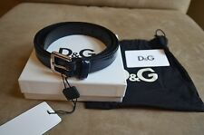 DOLCE & GABBANA D&G SMOOTH BLACK NAVY BLUE LEATHER BELT BUCKLE M 100 CM 40 IN