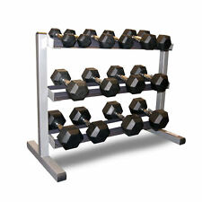 Body-Solid 3-Tier Rack & BodyPower 2-15kg Rubber Hex Dumbbell Weight Set + Rack