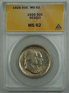 1926 Sesqui Commemorative Silver Half Dollar Coin ANACS MS 62 Reverse Toned