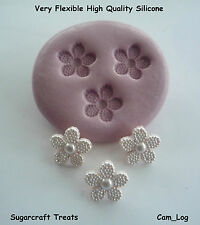 Mini Beaded Flower x 3 Silicone Mould, Sugarcraft, Cup Cake Card Topper Fimo