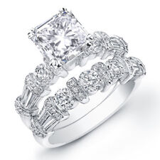 4.00 Radiant Baguette & Round Cut Diamond Engagement Ring  & Matching Band 14kWG