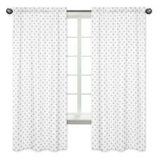 Jojo Grey Swiss Cross Window Treatment Panel Curtain Covering for Woodsy Bedding