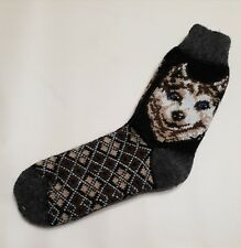 Three pairs. New hand knitted men's wool socks with a pattern (wolf).very warm.