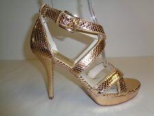 Michael Kors Size 8.5 M EVIE PLATFORM Gold Leather Sandals New Womens Shoes
